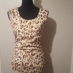 Ann Taylor Animal Print Rouched-Sided Blouse